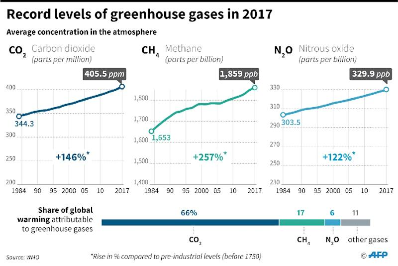 Change in levels of CO2, methane and nitrous oxide in the atmosphere since 1984 (AFP Photo/Simon MALFATTO, Paz PIZARRO)