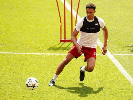 Soccer Football - Champions League - Liverpool Training - Anfield, Liverpool, Britain - May 21, 2018 Liverpool's Trent Alexander-Arnold during training REUTERS/Andrew Yates