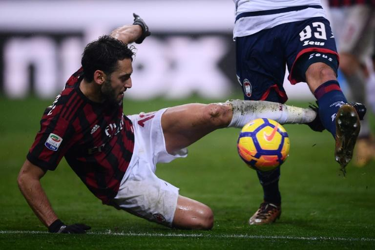 AC Milan's midfielder Hakan Calhanoglu, shown in this January 6, 2018 file photo,  joined the club from Bayer Leverkusen last summer but had failed to flourish under previous coach Vincenzo Montella