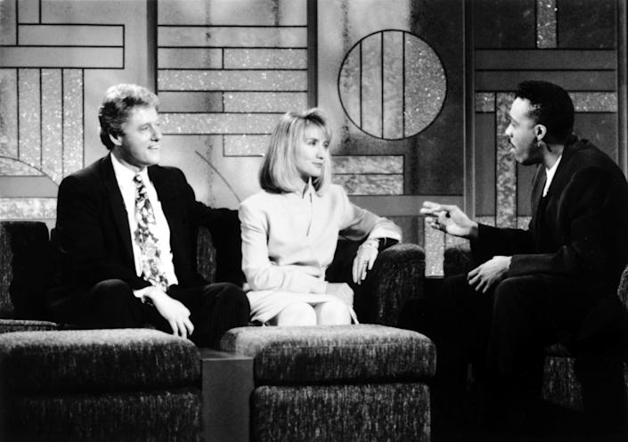 Bill and Hillary Clinton on 'The Arsenio Hall Show' in 1992 (Photo: Paramount Television / Courtesy: Everett Collection)