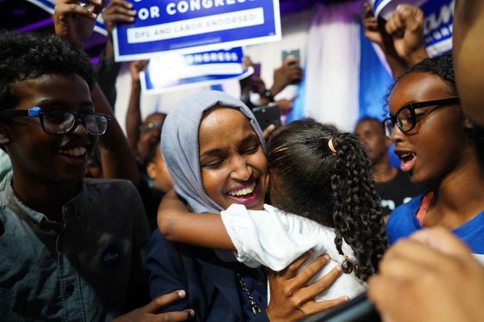 Minnesota Rep. Ilhan Omar celebrates with her children after her Congressional Fifth District primary victory Tuesday. (Photo: Mark Vancleave/Star Tribune via AP)