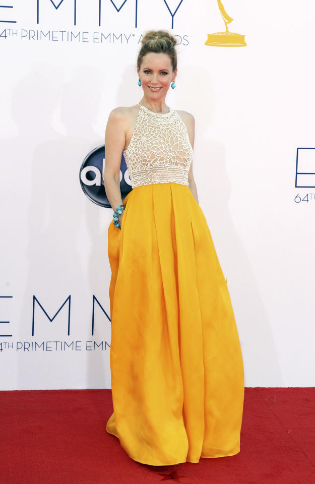 Leslie Mann arrives at the 64th Primetime Emmy Awards at the Nokia Theatre on Sunday, Sept. 23, 2012, in Los Angeles. (Photo by Matt Sayles/Invision/AP)