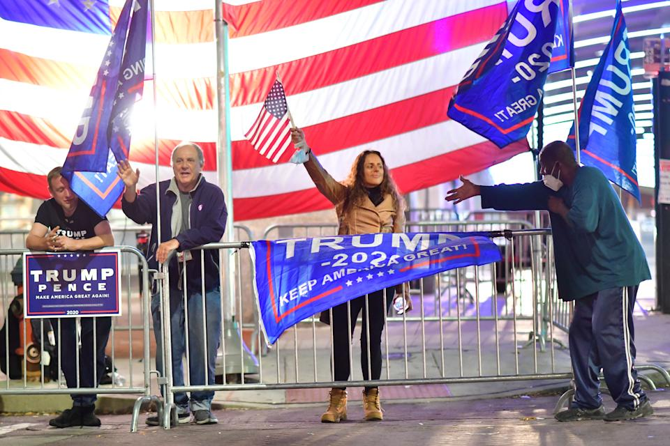 Supporters of President Donald Trump demonstrating outside of where votes are still being counted six days after the election in Pennsylvania. The state was called for Joe Biden on Saturday. Source: Getty Images