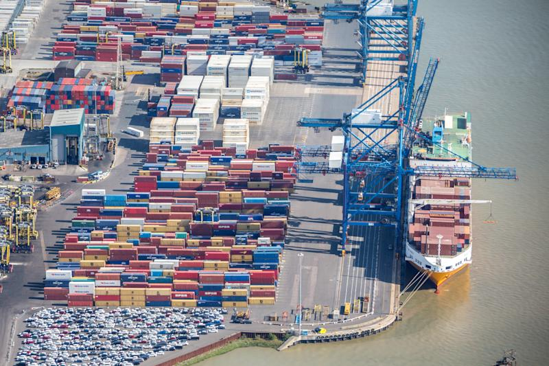 GRAYS, ENGLAND, UNITED KINGDOM - JUNE 14: An aerial photograph of The Port of Tilbury on June 14, 2017 in Grays, England. (Photograph by David Goddard/Getty Images)