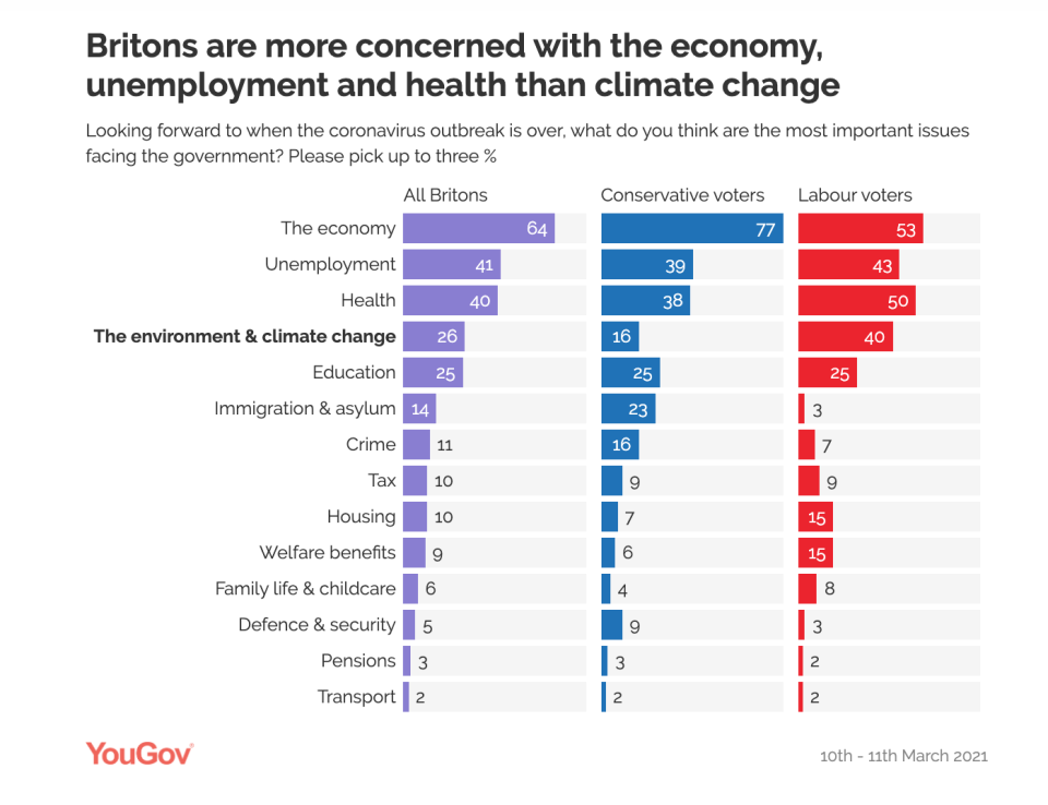 The YouGov poll asked Britons what the three most pressing issues are for the government after the pandemic. (YouGov)