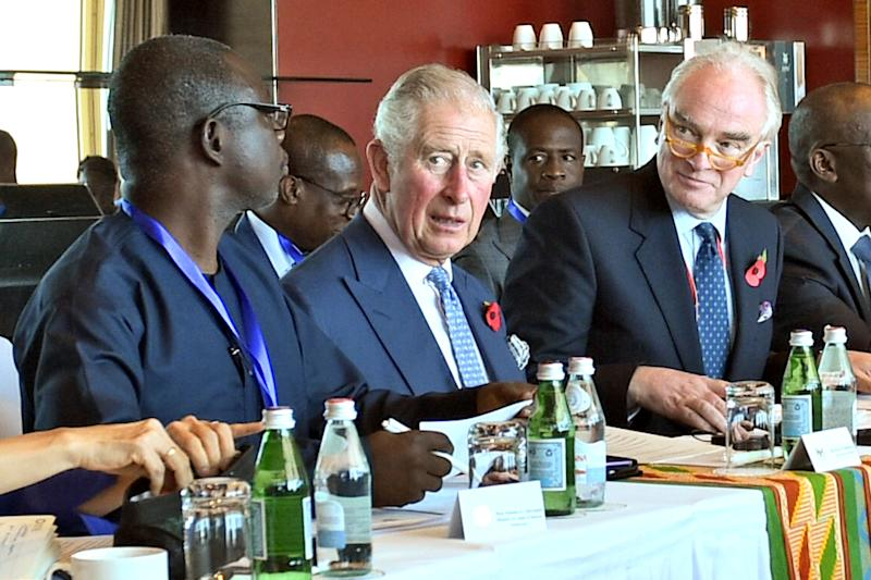 Prince Charles attends a meeting to discuss the cocoa industry at the Movenpick Hotel on Nov. 5 in Accra, Ghana. He is on a nine-day trip to West Africa. (WPA Pool via Getty Images)