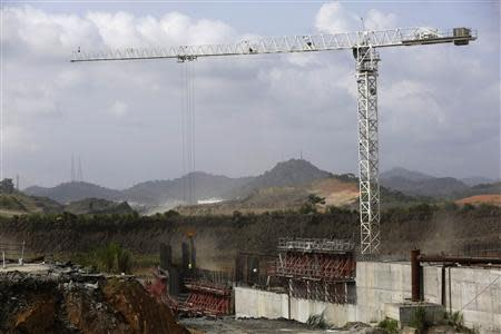 A crane is seen at the construction site of the Panama Canal Expansion project during an organized tour for the media on the Pacific side at the outskirts of Panama City