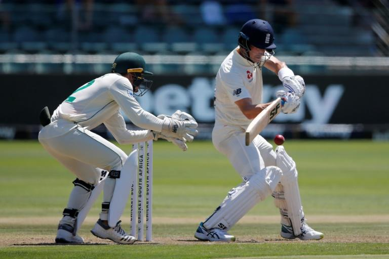 England's Joe Denly plays a shot during the first day of the third Test between South Africa and England