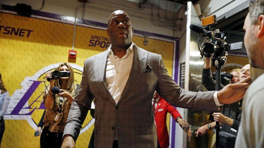 LOS ANGELES, CALIF. -- TUESDAY, APRIL 9, 2019: Earvin Magic Johnson steps down as Lakers' president of basketball operations at the Staples Center in Los Angeles, Calif., on April 9, 2019. (Gary Coronado / Los Angeles Times)