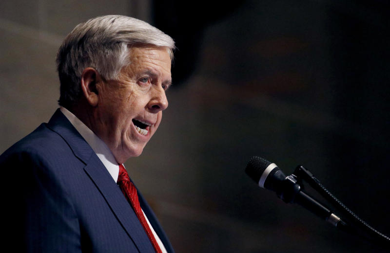 FILE - In this Jan. 16, 2019, file photo, Missouri Gov. Mike Parson delivers his State of the State address in Jefferson City, Mo. Missouri's Republican-led Legislature has passed a sweeping bill to ban abortions at eight weeks of pregnancy, and Republican Gov. Parson is expected to sign it. The House approved the measure Friday May 17, 2019. (AP Photo/Charlie Riedel, File)