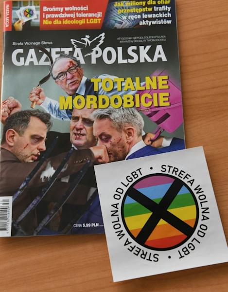 "A sticker which reads ""This is an LGBT-free zone"" was distrbuted by Gazeta Polska, a magazine close to the right-wing government (AFP Photo/Janek SKARZYNSKI)"