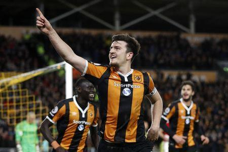 Britain Soccer Football - Hull City v Middlesbrough - Premier League - The Kingston Communications Stadium - 5/4/17 Hull City's Harry Maguire celebrates scoring their fourth goal Action Images via Reuters / Carl Recine Livepic