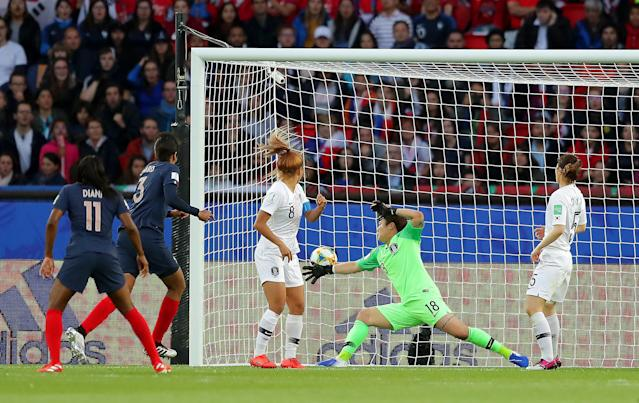 Wendie Renard of France scores her team's second goal during the 2019 FIFA Women's World Cup France group A match between France and Korea Republic at Parc des Princes on June 07, 2019 in Paris, France. (Photo by Richard Heathcote/Getty Images)
