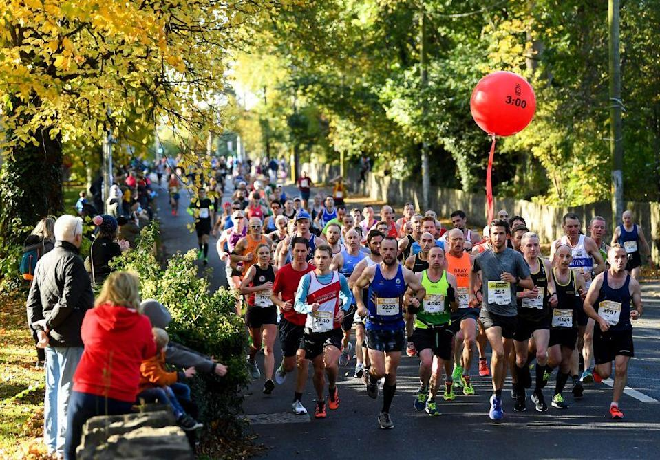 "<p>Suddenly stopping in the center of the course for a non-emergency is not allowed. Always try to <a href=""http://kbcdublinmarathon.ie/rules-and-regulations/"" rel=""nofollow noopener"" target=""_blank"" data-ylk=""slk:move aside for other runners"" class=""link rapid-noclick-resp"">move aside for other runners</a>.</p>"