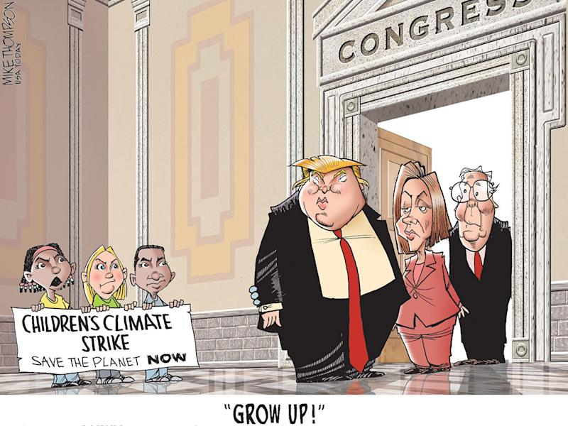 Kids teach lessons on climate, politics: Today's Toon