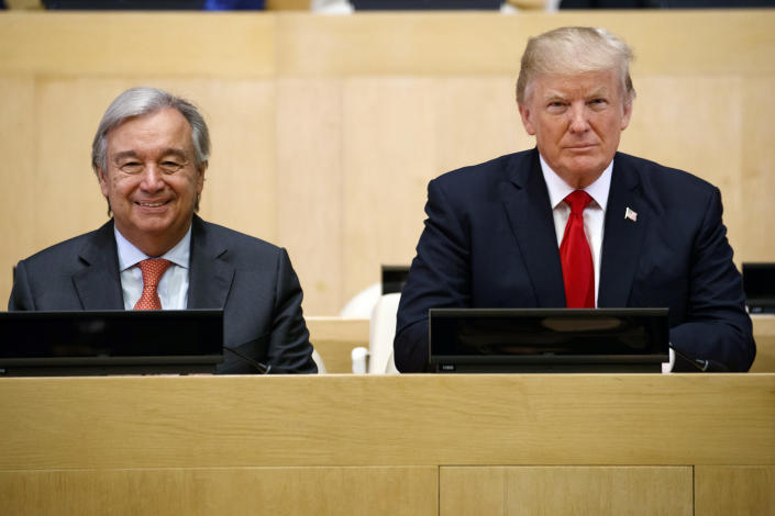 """<p>President Donald Trump sits with UN Secretary General Antonio Guterres for a photo before the """"Reforming the United Nations: Management, Security, and Development"""" meeting during the United Nations General Assembly, Monday, Sept. 18, 2017, in New York. (Photo: Evan Vucci/AP) </p>"""