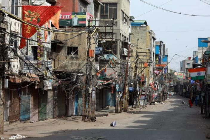 FILE PHOTO: A nearly deserted wholesale market is seen during lockdown to limit the spread of coronavirus in the old quarters of Delhi