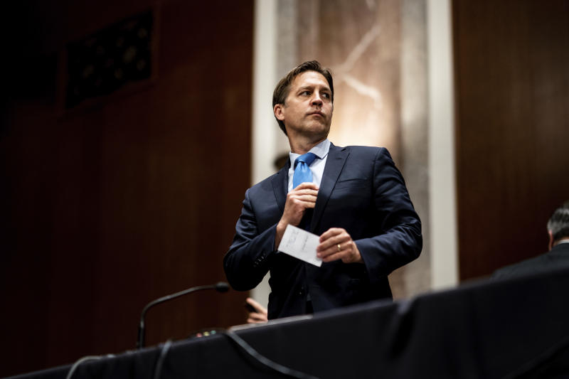 Sen. Ben Sasse, R-Neb., attends a Senate Judiciary Committee business meeting to consider authorization for subpoenas relating to the Crossfire Hurricane investigation, and other matters on Capitol Hill in Washington, Thursday, June 11, 2020. (Erin Schaff/The New York Times via AP, Pool)