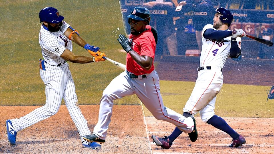 Amed Rosario, Jackie Bradley Jr. and George Springer TREATED ART