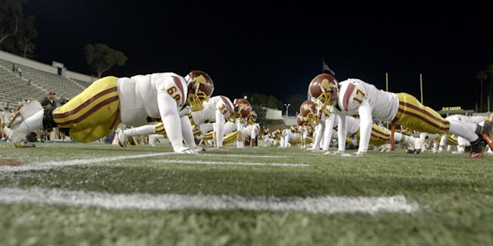 "A scene from the documentary ""The All-Americans"" about the Garfield-Roosevelt football series, which could be in jeopardy after campus police budget cuts. <span class=""copyright"">(The All-Americans)</span>"