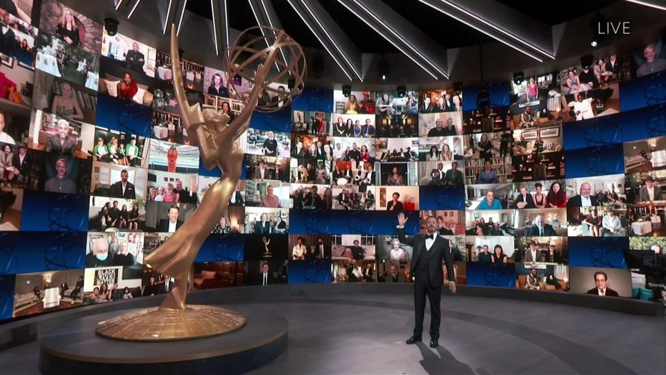 This image released by the Television Academy shows host Jimmy Kimmel during the 72nd Emmy Awards telecast on Sept. 20, 2020 (Invision for the Television Academy via AP)