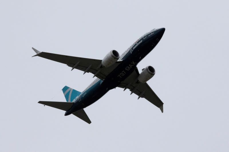 FILE PHOTO: A Boeing 737 MAX airplane takes off on a test flight from Boeing Field in Seattle