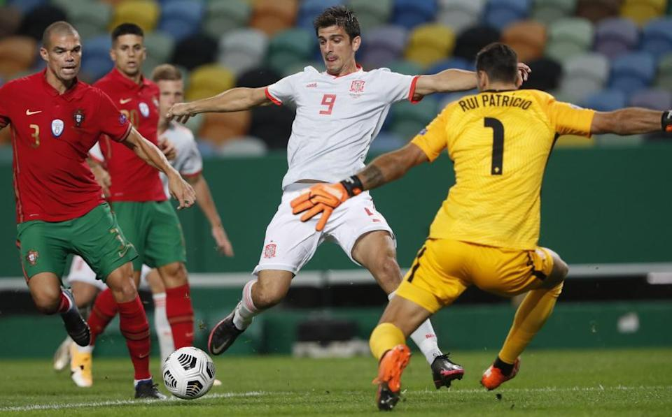 Gerard Moreno in action for Spain against Portugal last October.