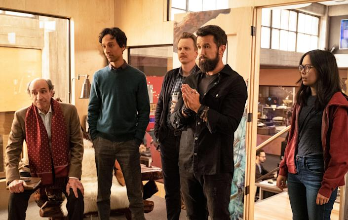 Danny Pudi with F Murray Abraham, David Hornsby, Rob McElhenney, and Charlotte Nicdao in 'Mythic Quest' (Apple TV+/Kobal/Shutterstock)