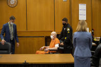 """Joseph James DeAngelo is brought to the court room for the first day of victim impact statements at the Gordon D. Schaber Sacramento County Courthouse on Tuesday, Aug. 18, 2020, in Sacramento, Calif. DeAngelo is a former police officer in California who eluded capture for four decades. The scope of his crimes """"is simply staggering,"""" prosecutors said in a court summary released Monday — 13 known murders and nearly 50 rapes between 1975 and 1986. (Santiago Mejia/San Francisco Chronicle via AP, Pool)"""