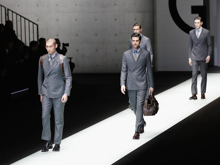 "Models at the Giorgio Armani show during Milan Men's Fashion Week in January 2018. <p class=""copyright"">Getty Images</p>"