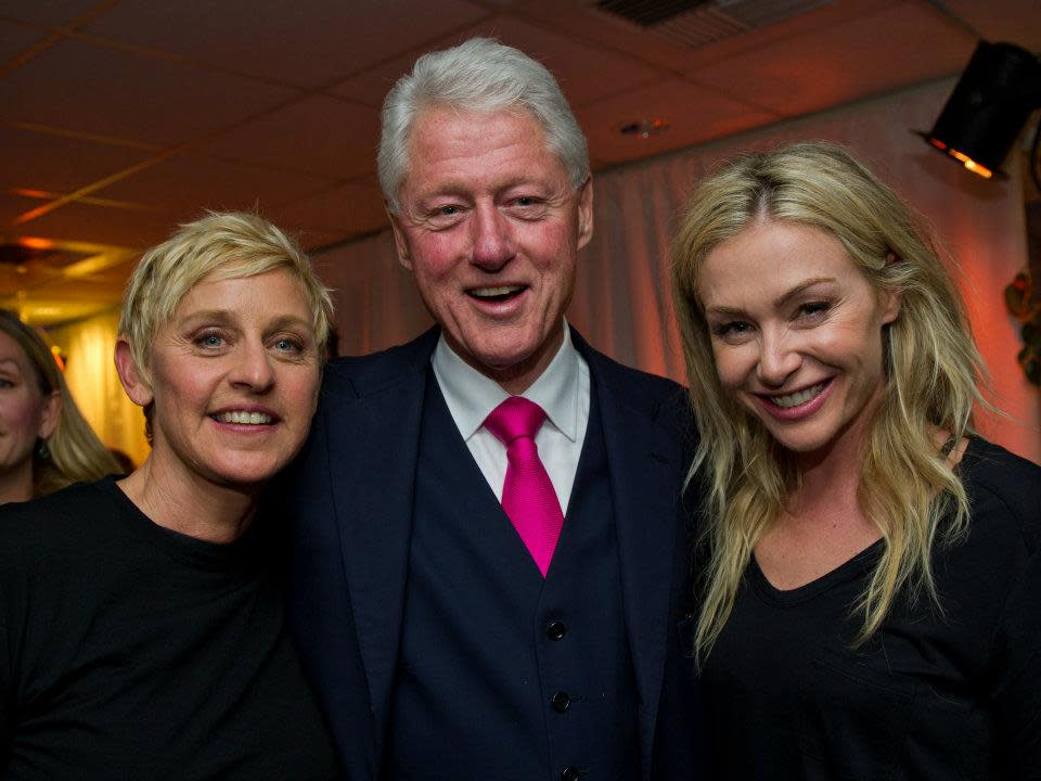"President Clinton with <span>Ellen Degeneres</span> and Portia de Rossi before ""A Decade of Difference"" concert.<br><br>(Photo by Barbara Kinney / Clinton Foundation)"