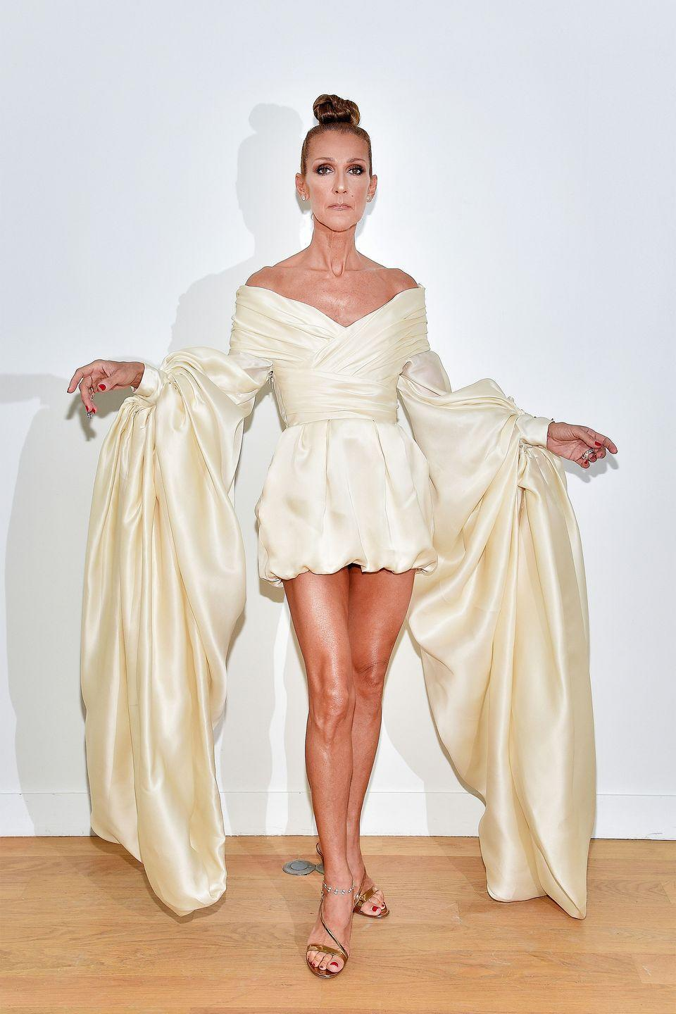 <p>Celine is no stranger to statement-making ensembles, but this one really blew us away. The singer stepped out in a bridal-inspired gown by Alexandre Vauthier for his show during Paris Couture Week and the sleeves truly speak for themselves. </p>