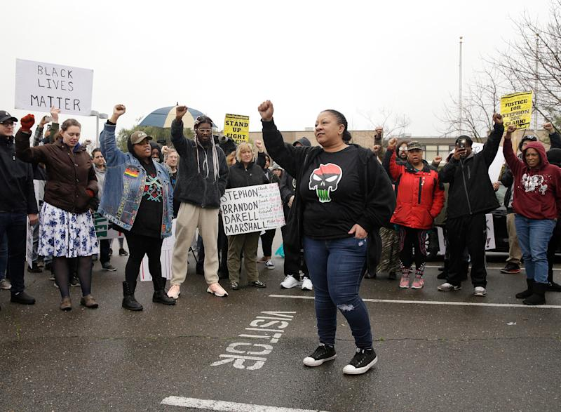 Tanya Faison, of Black Lives Matter, addresses a demonstration outside the Sacramento Police Department to protest the decision to not prosecute the two officers involved in the 2018 fatal shooting of Stephon Clark.