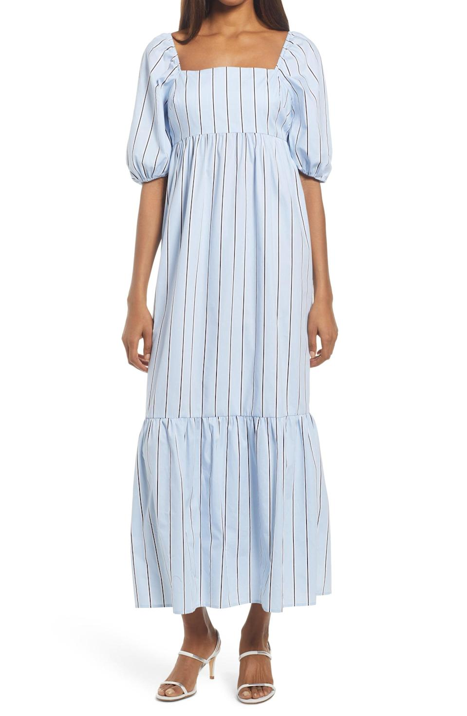 <p>This <span>Fourteenth Place Stripe Puff Sleeve Midi Dress</span> ($69) looks chic and breathable.</p>