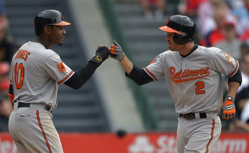 Baltimore Orioles' J.J. Hardy, right, is congratulated by teammate Adam Jones after hitting a two-run home run during the fourth inning of their baseball game against the Los Angeles Angels, Sunday, May 5, 2013, in Anaheim, Calif. (AP Photo/Mark J. Terrill)