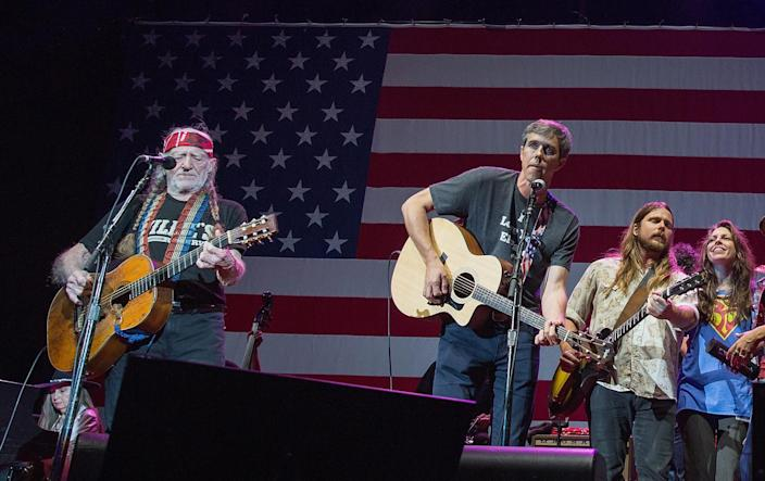 From left: Willie Nelson, Beto O'Rourke, Lukas Nelson, Amy Nelson and Margo Price perform onstage with Willie Nelson and Family during the 45th Annual Willie Nelson 4th of July Picnic at the Austin360 Amphitheater on July 4, 2018, in Austin, Texas. (Photo: Rick Kern/WireImage via Getty Images)