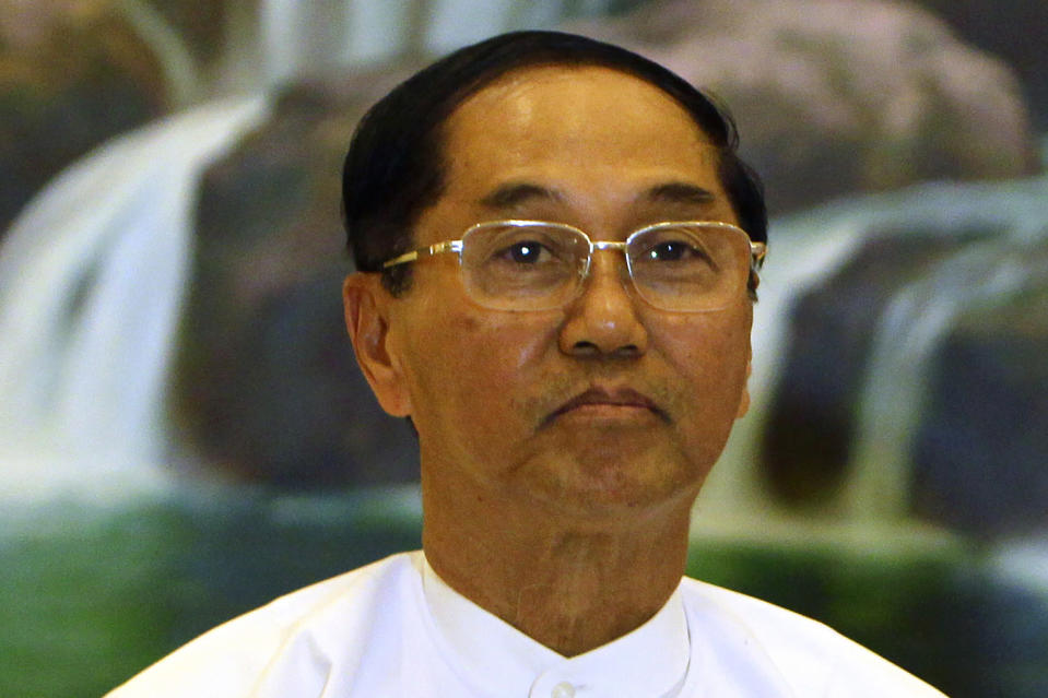 FILE - In this Jan. 18, 2017, file photo, Myanmar Vice President Myint Swe poses for a photo after meeting with Yanghee Lee, special rapporteur on the situation of human rights in Myanmar, at the President House in Naypyitaw, Myanmar. Myanmar military television said Monday, Feb. 1, 2021 that the military was taking control of the country for one year, while reports said many of the country's senior politicians including Aung San Suu Kyi had been detained. The military TV report said Commander-in-Chief Senior Gen. Min Aung Hlaing would be in charge of the country, while Myint Swe would be elevated to acting president. (AP Photo/Aung Shine Oo, File)