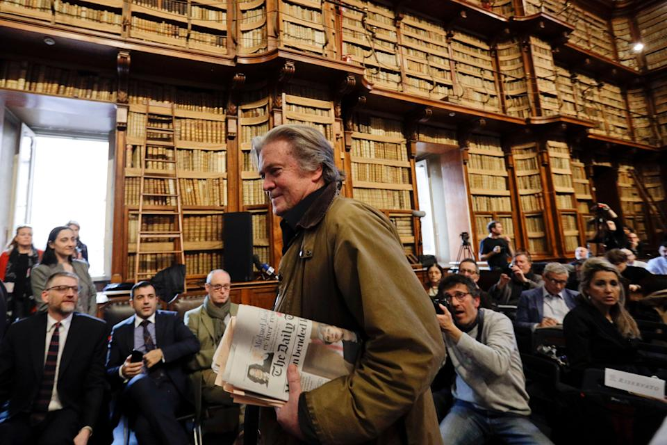 Former White House strategist Steve Bannon at Rome's Angelica Library, a gorgeous high-ceilinged building lined with a million old books, on March 21, 2019. (Photo: Gregorio Borgia/AP)