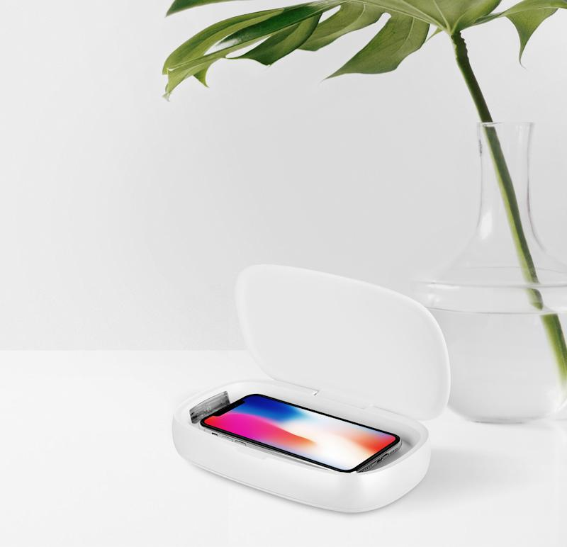 The Momax Q.Power is a UV box that doubles as a wireless charging pad when you put your phone on its cover. (PHOTO: Momax)