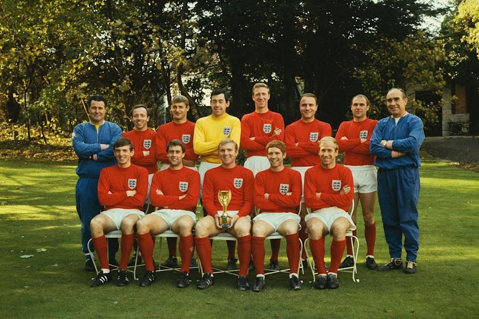 Heroes: England's World Cup winning squad with the Jules Rimet trophyHulton Archive/Getty Images