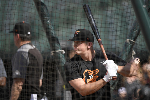 Baltimore Orioles first-round draft pick Adley Rutschman takes batting practice before a baseball game against the San Diego Padres, Tuesday, June 25, 2019, in Baltimore. (AP Photo/Nick Wass)