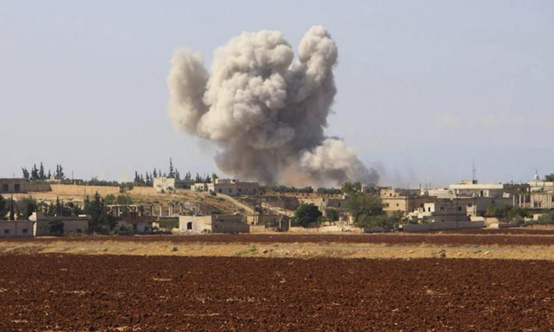 'It will be hard to accept that Russian intervention has been broadly positive by bringing the war to an end'. An airstrike near Idlib, Syria.