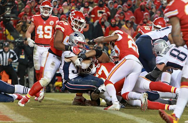 Rex Burkhead pounded the Chiefs with the final nail in the coffin, a 2-yard TD run in overtime that sent the Patriots to Super Bowl LIII. (Getty Images)