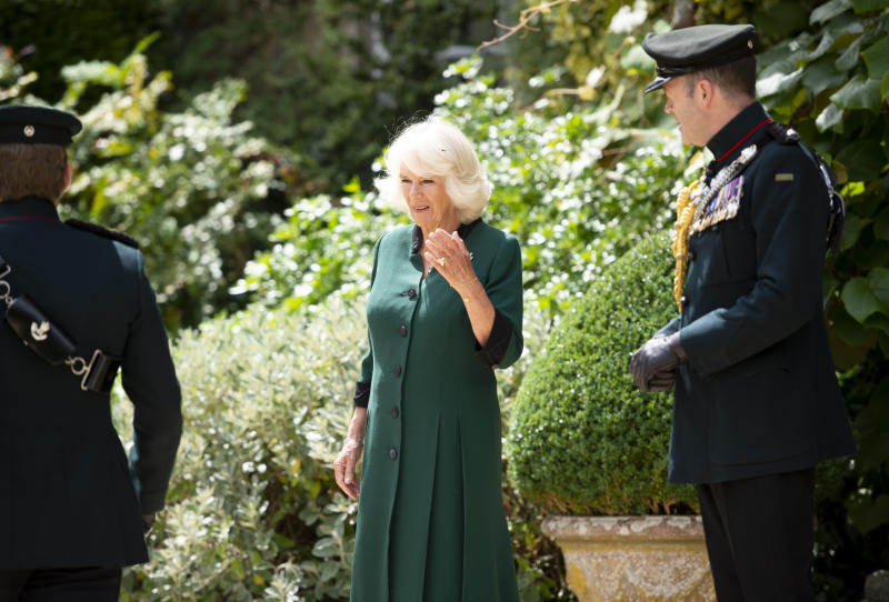 The Duchess of Cornwall, alongside Colonel Commandant, General Sir Patrick Sanders (right), at Highgrove House, during a ceremony for the transfer of the Colonel-in-Chief of the Rifles to the Duchess from the Duke of Edinburgh, who will begin the ceremony at Windsor Castle.