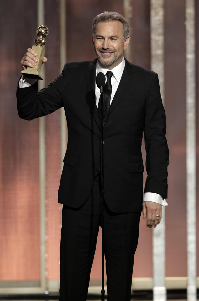 "Winner Kevin Costner, Best Actor - Mini-Series or TV Movie, ""Hatfields & McCoys"" on stage during the 70th Annual Golden Globe Awards held at the Beverly Hilton on January 13, 2013."