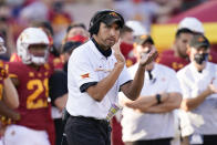 FILE - Iowa State head coach Matt Campbell reacts on the sideline during the second half of an NCAA college football game against Texas Tech in Ames, Iowa, in this Saturday, Oct. 10, 2020, file photo. Iowa State won 31-15. Big 12-leading Iowa State is on the verge of getting into its first conference championship game in any league. (AP Photo/Charlie Neibergall, File)