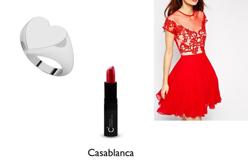 Theresa Yu from  The Ladida says red and lace is the perfect combination for Valentine's Day. At the top of her list is  ASOS Petite Skater Dress with Lace Trim, $106.  Yu likes to wear her heart on her finger with this  #1 Sterling Silver Heart Signet Ring,$195. Her last date night essential is  Create Cosmetics Lipstick in Casablanca, $20.