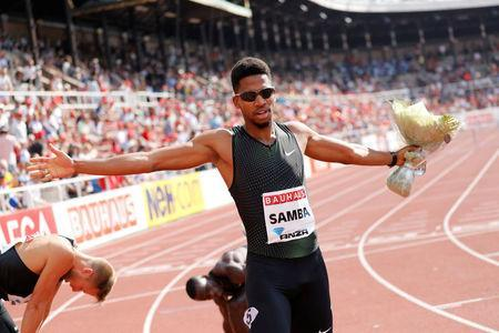 IAAF Athletics Diamond League - Men's 400m - Stockholm Stadium, Stockholm, Sweden - June 10, 2018 - Abderrahman Samba of Qatar wins the 400m hurdles event. TT News Agency/Soren Andersson via REUTERS