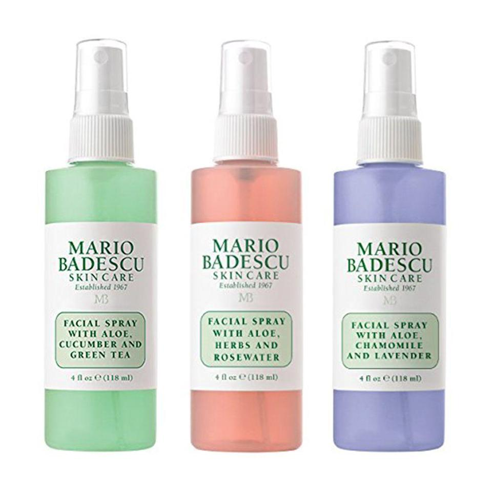 """<p><strong>Mario Badescu</strong></p><p>amazon.com</p><p><strong>$21.00</strong></p><p><a href=""""https://www.amazon.com/dp/B00LBHEP3O?tag=syn-yahoo-20&ascsubtag=%5Bartid%7C10058.g.33762832%5Bsrc%7Cyahoo-us"""" rel=""""nofollow noopener"""" target=""""_blank"""" data-ylk=""""slk:SHOP IT"""" class=""""link rapid-noclick-resp"""">SHOP IT</a></p><p>Mario Badescu's facial sprays are practically iconic. With this trio set, you'll never have to choose just one, and all it takes is a spritz or two to keep skin feeling totally cool and refreshed.<br></p>"""