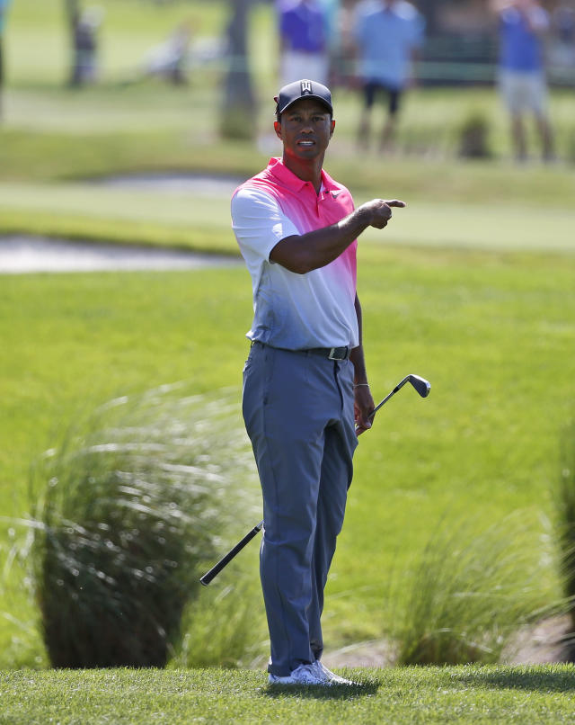 Tiger Woods asks for help as he looks for his ball in the tall grass on the second hole during the second round of the Honda Classic golf tournament, Friday, Feb. 23, 2018, in Palm Beach Gardens, Fla. (AP Photo/Wilfredo Lee)